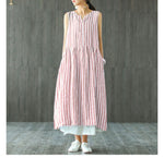 Striped Shirt Dress V Neck Summer Vintage Maxi Dress