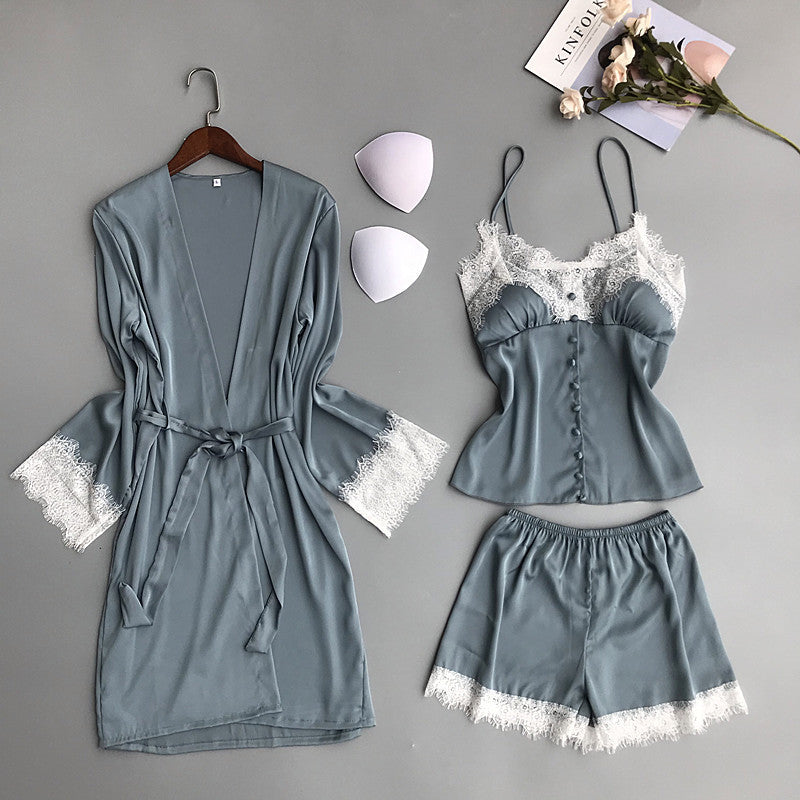 Sexy Lace Silk Three Piece Suit Spaghetti Strap Nightdress+Robe+Shorts Robe Set With Chest Pad Pajamas Suit
