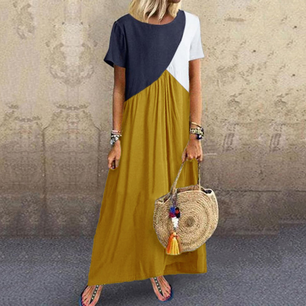 2019 Dress Women New geometry  Splicing  Dress  Summer  Maxi dress  Women Clothes