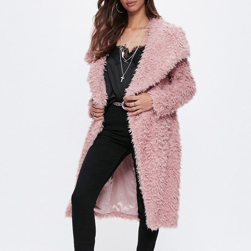 Winter Women Pink Faux Fur Coat Elegant Warm Long Coat Female Casual Fashion Streetwear Plush Teddy Coat Outerwear