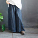 Casual Loose Striped Cotton Linen Trousers Female Wide Leg Pants