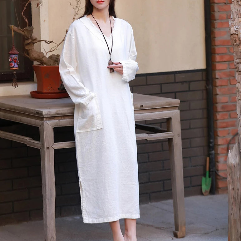 Cotton Linen Robes V-Neck Long Sleeve Pockets Plus Size Dress