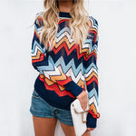 Autumn Women Fashion Rainbow Striped Sweater
