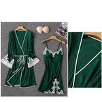 New Fashion Spring Sexy Patchwork Lace Two Piece Robes Female Faux Silk Sleeveless Nightdress And Long Sleeve Bathrobe