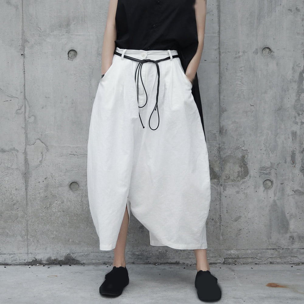 Casual White Big Size Cross-Pants Women Pockets Female Pant High Waist Loose Pants