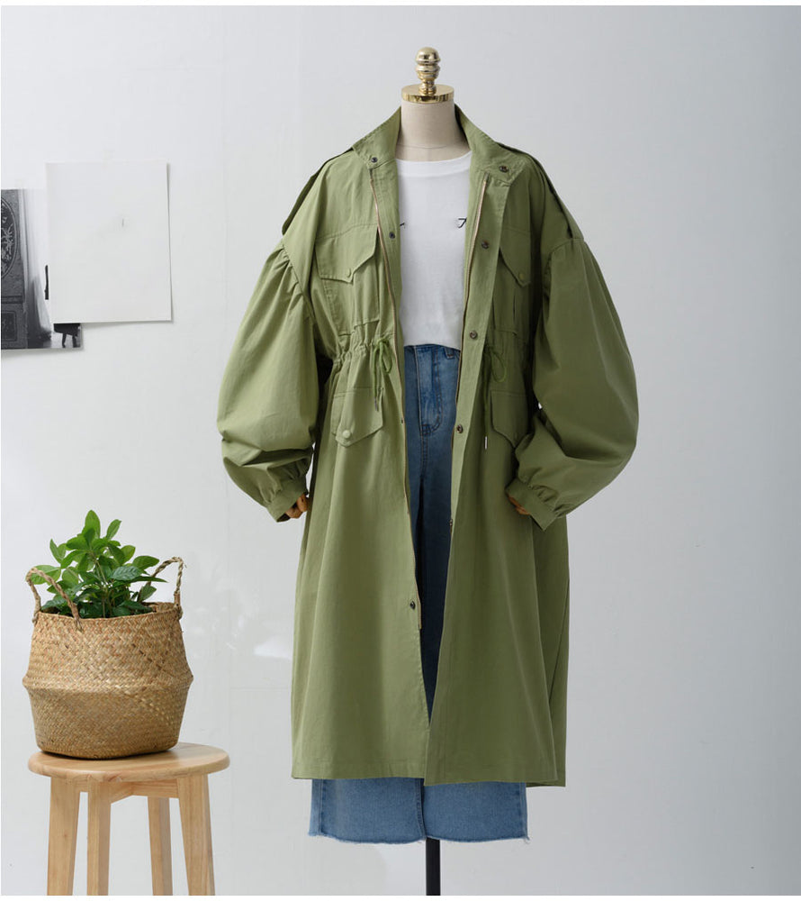Oxdra Women Spring Autumn New Solid Trench Coat long Outerwear loose clothes for lady with belt Casual Outerwear