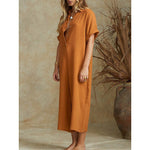 cotton linen solid color Lady Summer Casual Buttons wide leg Jumpsuits