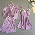 Women Lace-Up Nightwear Suit Sexy Spaghetti Two Pieces Bathrobes Spring Lace Faux Silk Nightgown Sets