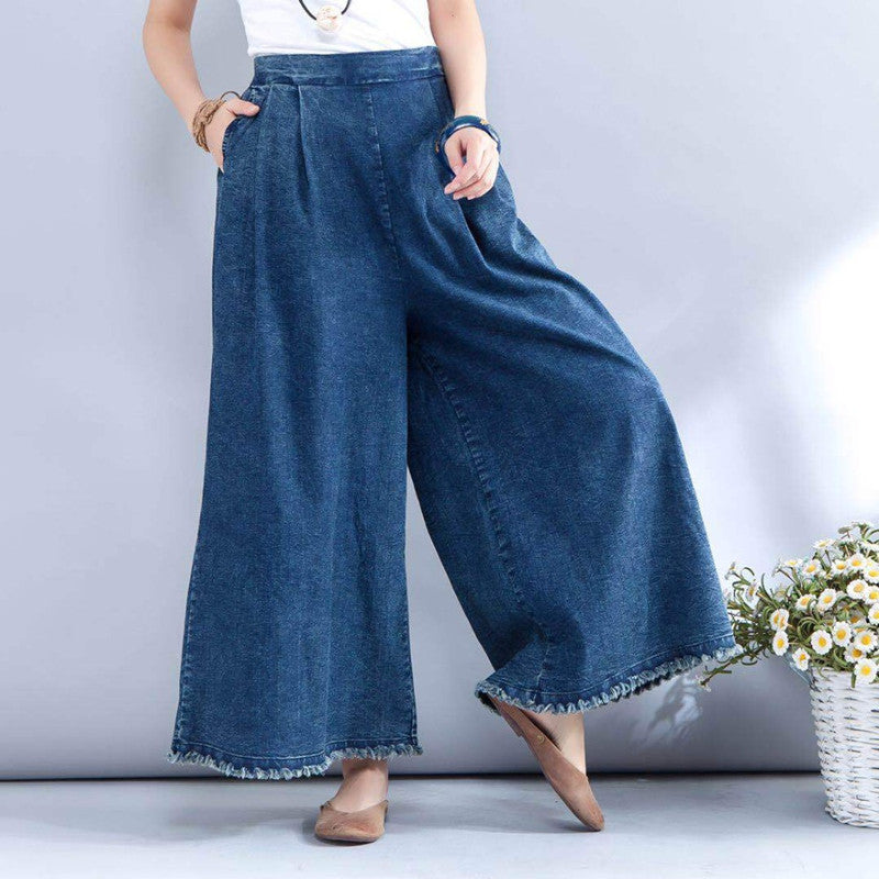 Loose Simple Elastic Waist Pocket Denim Pants Straight Tassels Wide Leg Pants