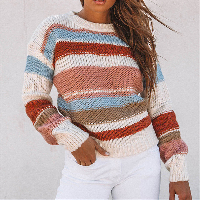 Long Sleeve Striped Women Crewneck Knitted Pullover Sweaters