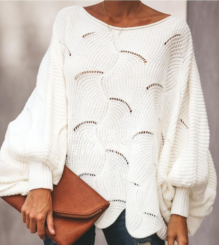 Women Loose Sweater Cloak Causal  Soft Lantern Sleeve Hollow Out Pullovers Fashion Knit O Neck Wave Hem Solid Female Sweaters