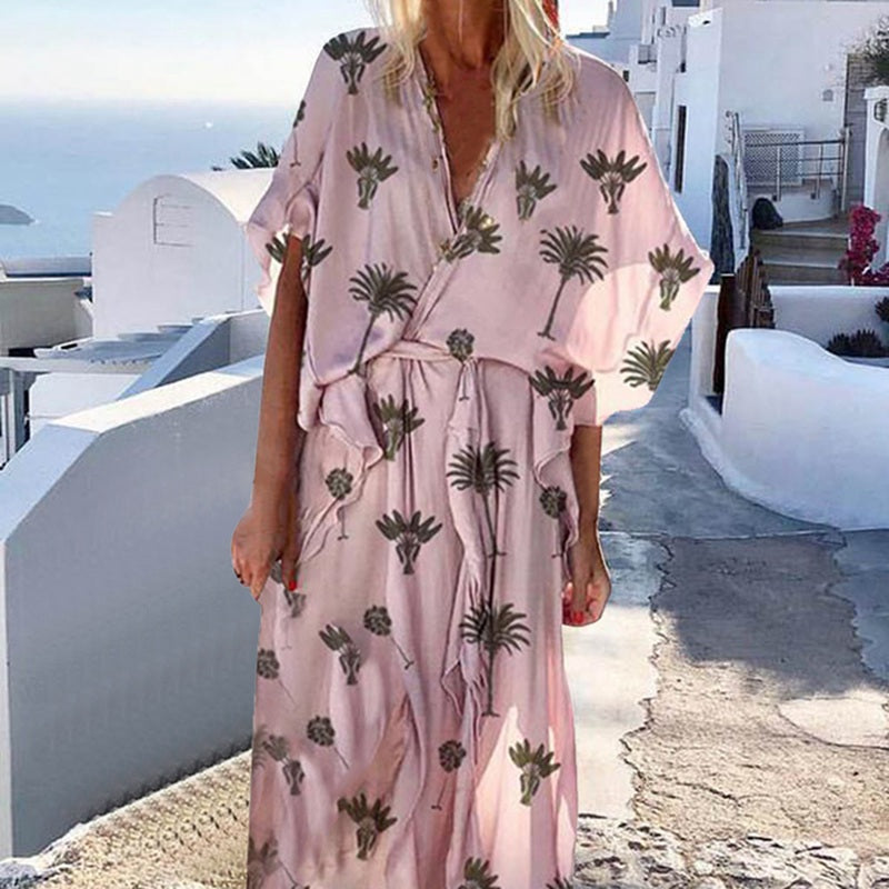 Summer Sexy V-neck Ruffle Casual Short Sleeve Solid Plus Size Dress