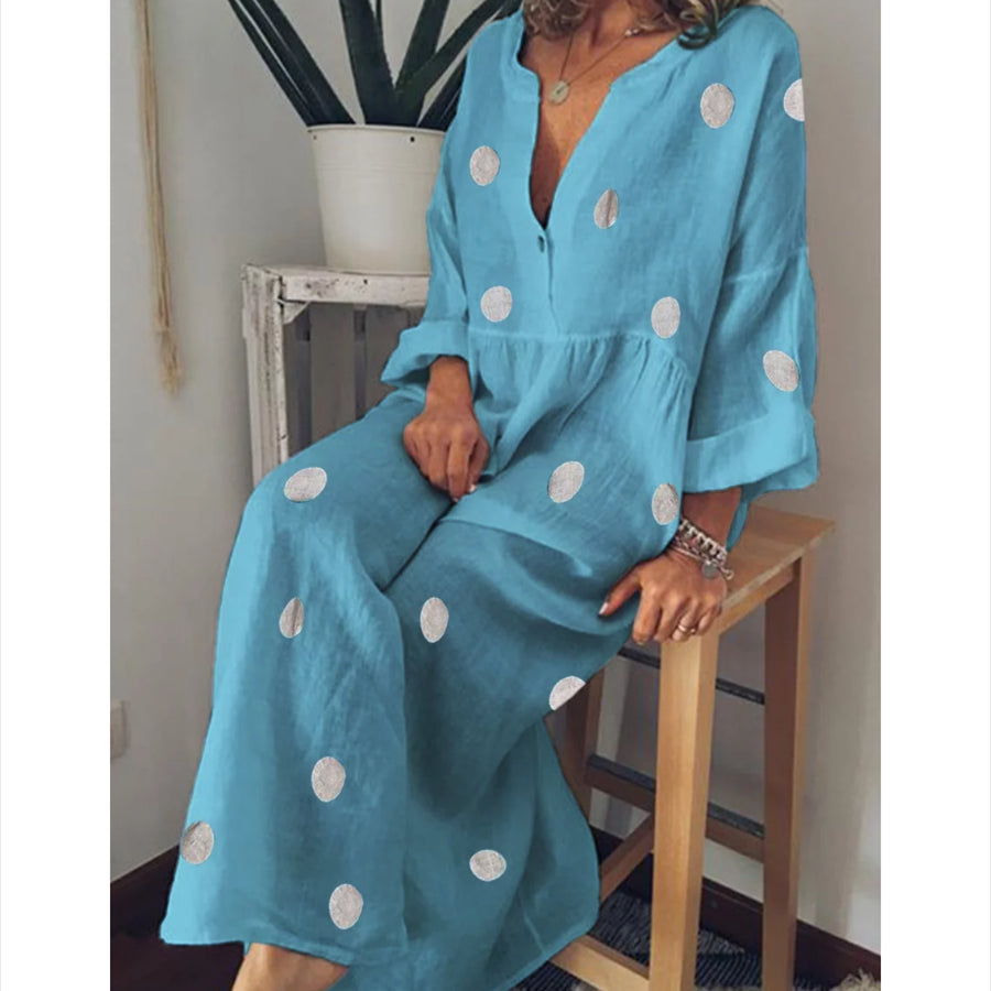 Plus Size Polka Dot Summer Casual Loose Long Sleeve Maxi Dress