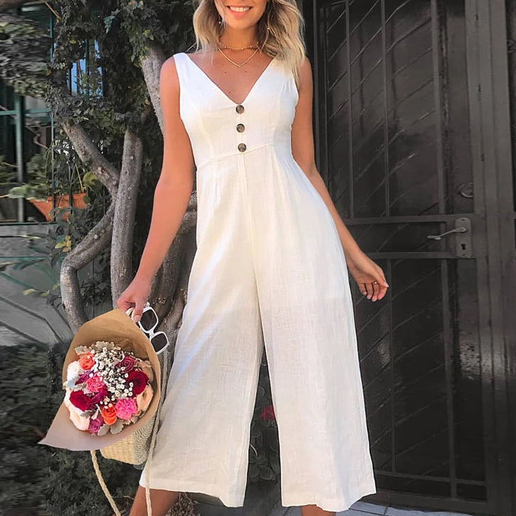 Elegant Loose Jumpsuits Buttons V-Neck Back Bow Wide Leg Rompers
