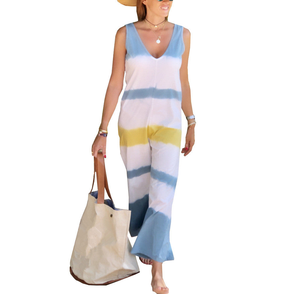 Fanbety Summer Sexy Sleeveless Jumpsuit Elegant New Gradient Color Strip Print Jumpsuit Overalls Loose Wide Trousers Leg Rompers