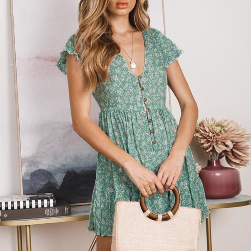 Beach Summer Sexy Ruffle Casual Floral Print Button Dress