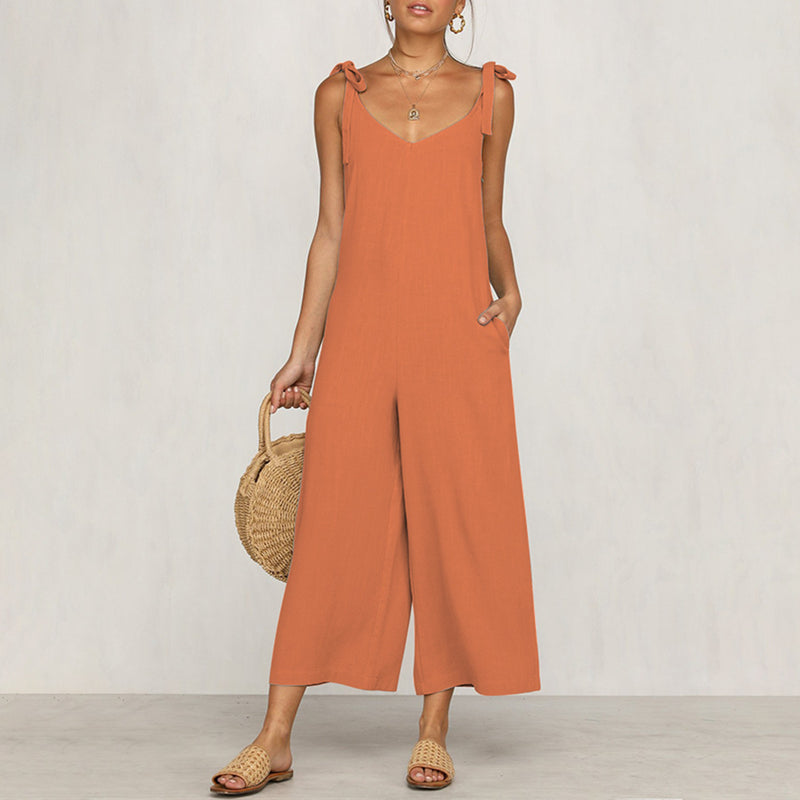 Women's Solid Cotton Linen Wide Leg Jumpsuits