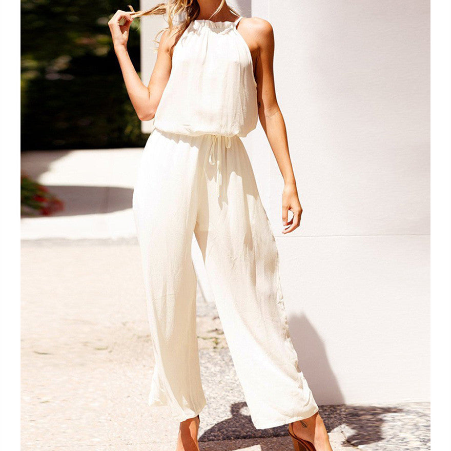 Lace Up Sleeveless Wide Leg Jumpsuit