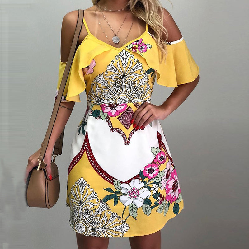 Floral Print Cold Shoulder Casual Dress Bohemian Loose Beach Dress