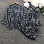 Rayon Satin Pajamas Sets Spring Autumn Sexy Lace Sleepwear With Chest Pads Female Casual Home Print Three Piece Suits