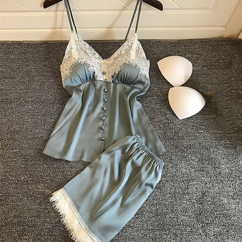 Summer Women Sexy Pajamas Sets With Shorts Female Satin Lace Spaghetti Strap Backless Sleepwear With Chest Pads