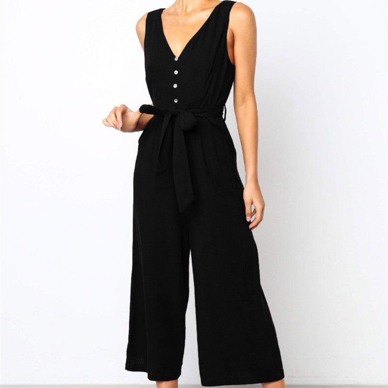 Fashion Sexy V-Neck Ruffle Solid Sleeveless Bandage Loose Jumpsuit