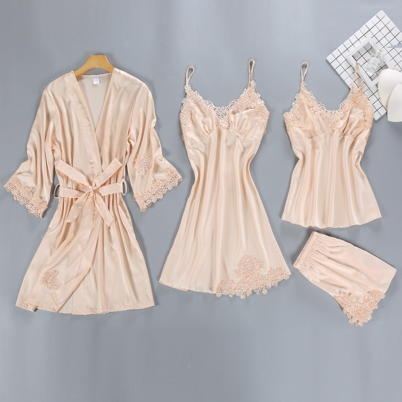 Satin Sleepwear Female with Chest Pads Sexy Women Pajamas Sets