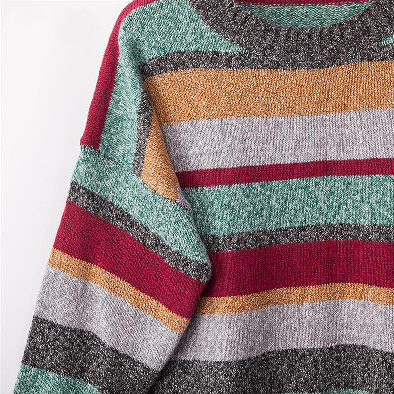 Sampic oversized striped casual woman autumn sweater long sleeve o neck loose pullover knitted sweater 2019