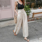 Summer Hight Waist Lace up Wide leg pants