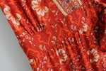 Vintage V Neck Red Print Short Women Dress