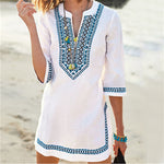 Beachwear Vintage Embroidered Summer Beach Dress