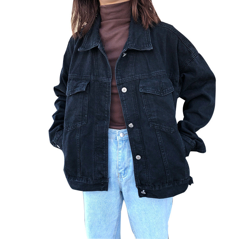 2019 Autumn Women Black Denim Jackets Casual Turn-Down Collar Pockets Casual Jacket Loose Jean Coat