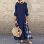 MISSOMO Vintage 5XL Women Casual Patchwork 3/4 Sleeves O-Neck Button High Low Hem Plus Size Dress women long maxi dress 711