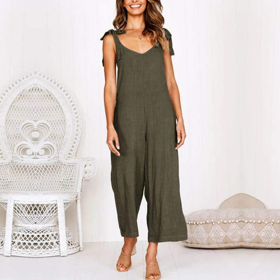 Loose Sleeveless Sexy Shoulder Casual Jumpsuits Wide Leg Jumpsuits