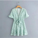 Casual Blue Polka Dot Short Sleeve Ruffles Mini Dress