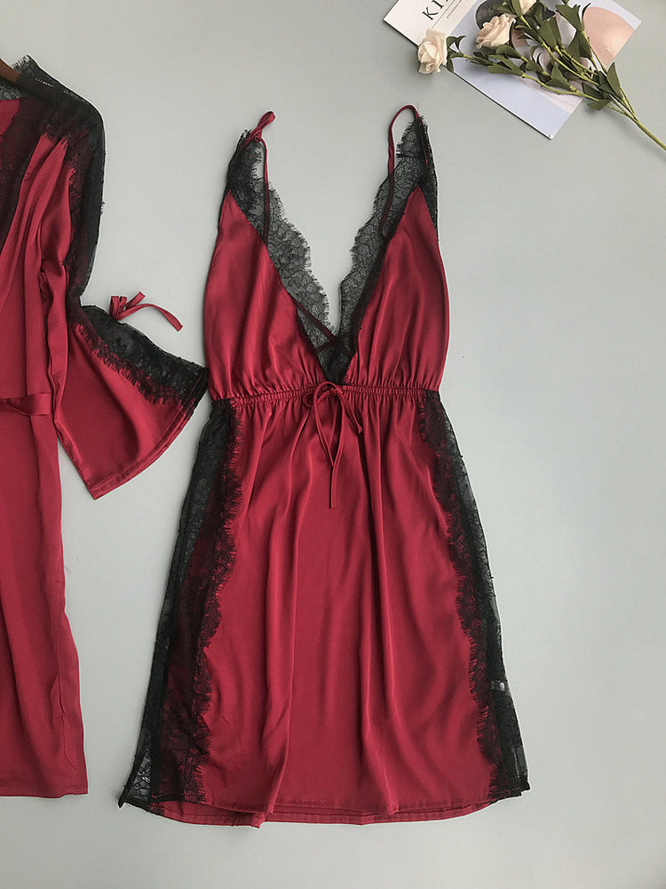 Women Sexy V-Neck Lace Gown Sets 2019 New Long Top and Spaghetti Strap Blackless Dress Nightdress Female Robe Suits