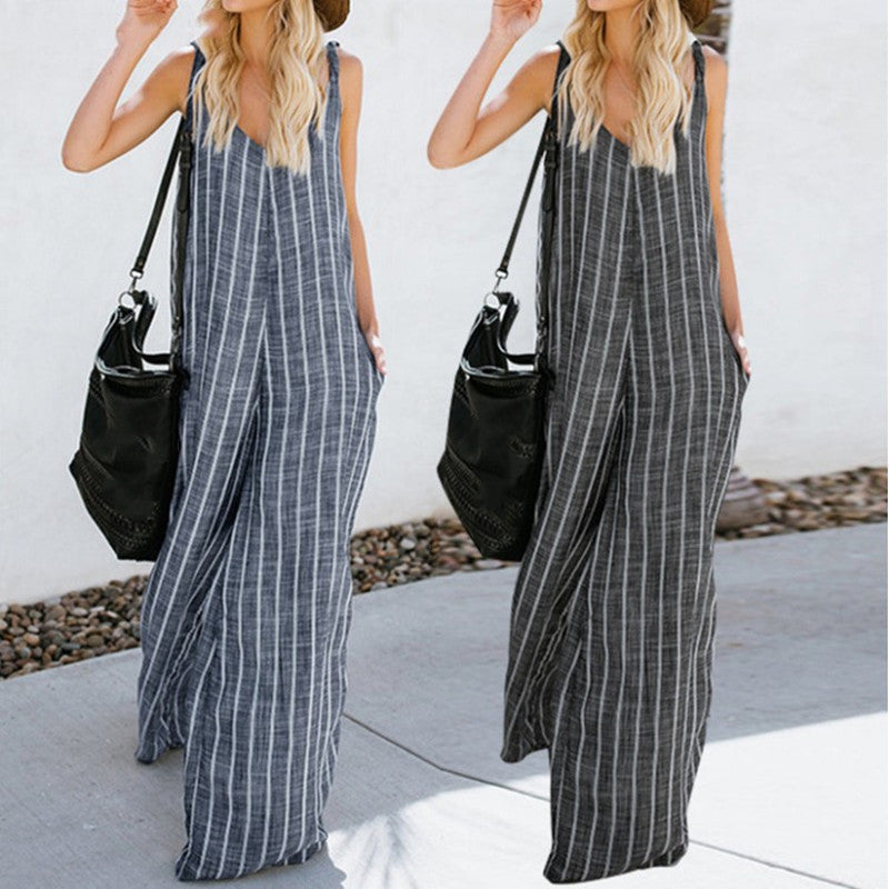 Sleeveless Striped Plus Size Casual Jumpsuit