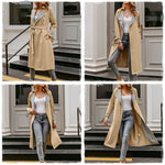 Turmeric elegant Vintage plaid Fashion overcoats autumn winter oversize women trench coat Belted pocket ladies streetwear