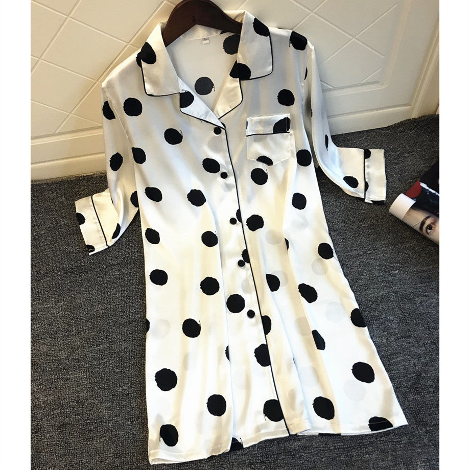 Polka Dot Nightgowns Sexy Half Sleeve Shirt Night Dress Black White Casual Loose Night Gown
