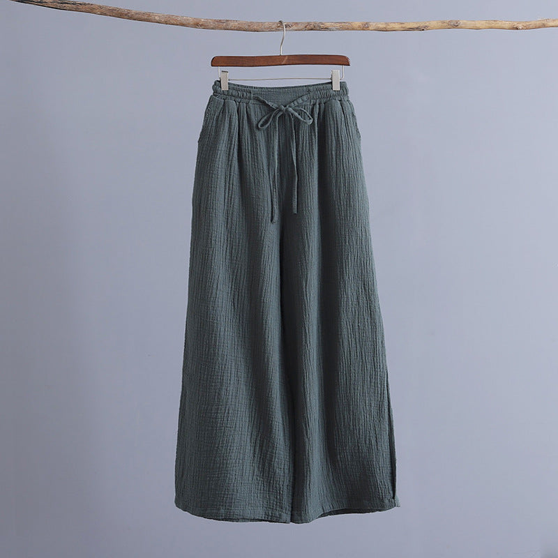 Women Casual Cotton Linen Long Solid Loose Pants Spring Summer Elastic Waist Wide Leg Pants
