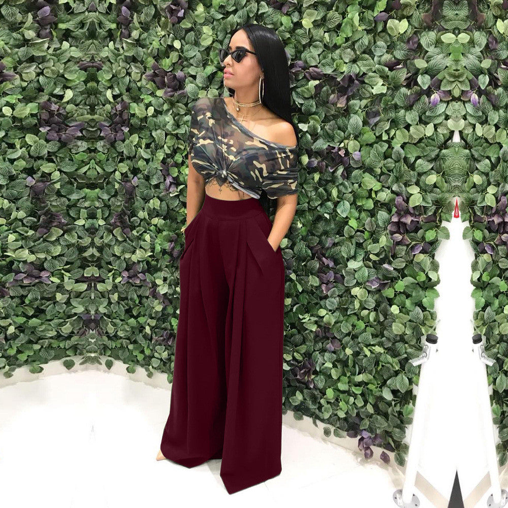 Autumn Women Casual Loose Palazzo Pants High Waisted Wide Leg Trousers Pleated Long Culottes Pants Elastic Waist Trouser Pockets