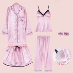 Casual Satin Pajamas Set 5 Piece Striped Sleepwear Set