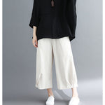 Summer Wide Leg Pants Elastic Waist Pocket Elastic Pants