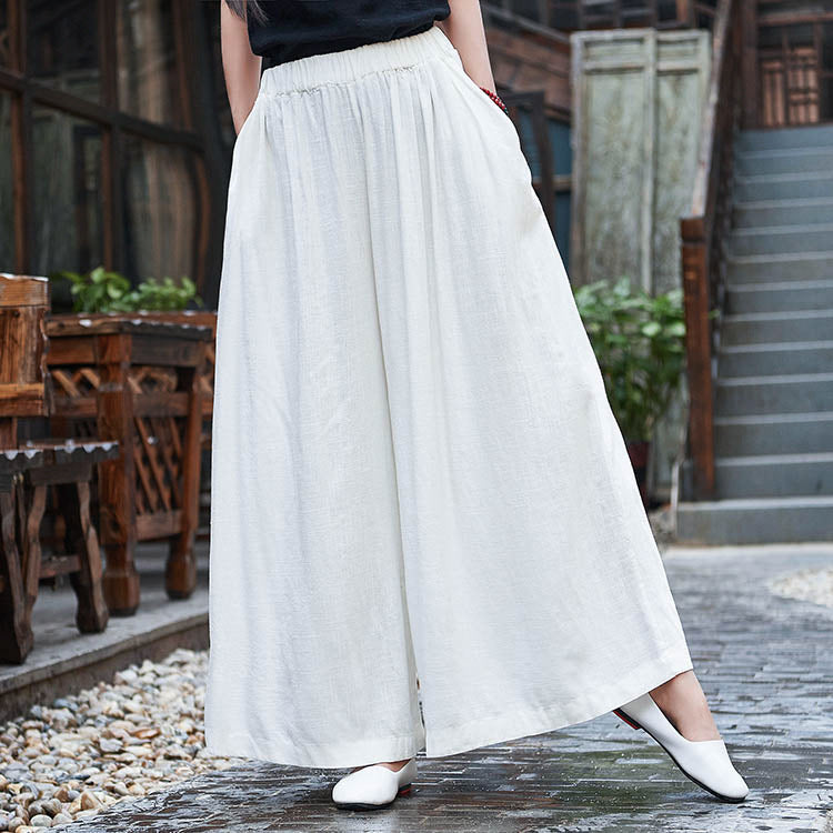 Summer Cotton Linen Pants Casual Solid Linen Elastic Waist Pants
