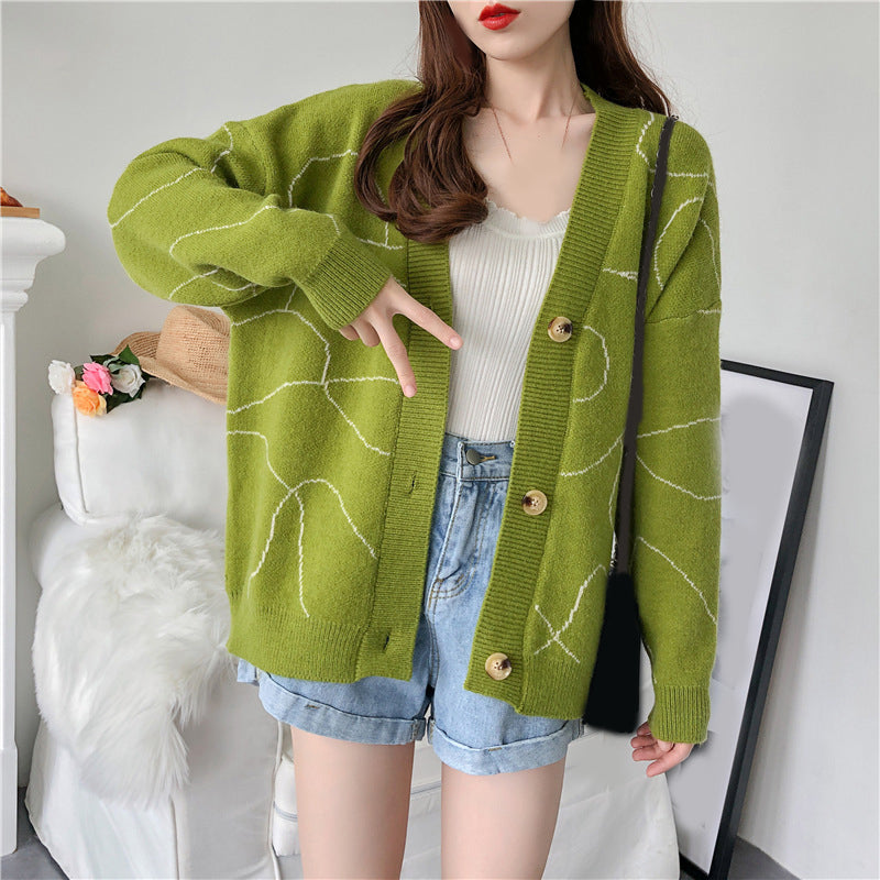 Women Sweaters Knitted Cardigans V neck Geomertric Oversized Blue Casual Loose Cardigans