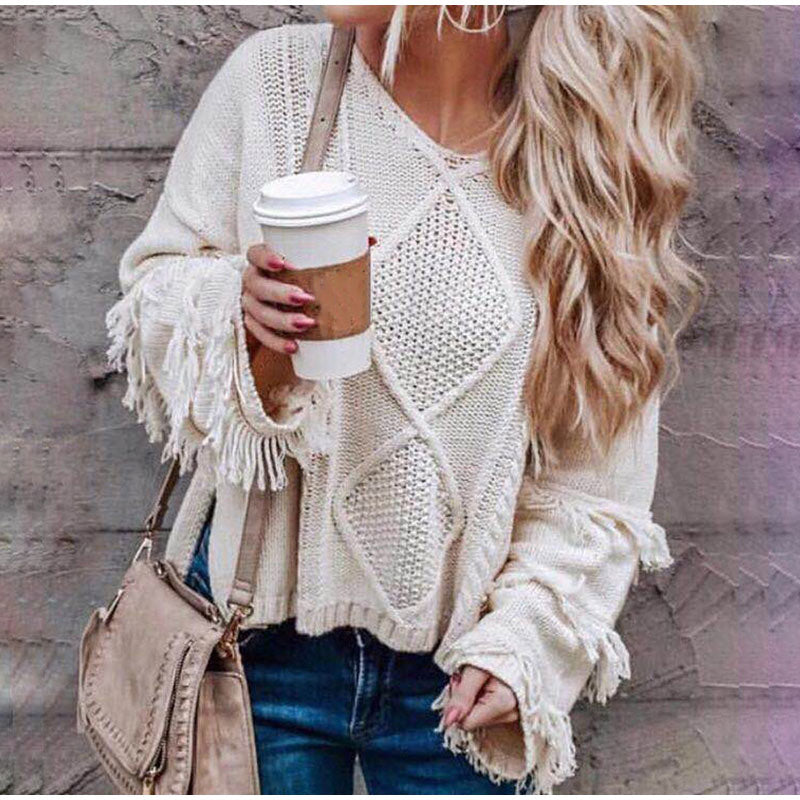 Loose Knitting O-neck Flare Sleeve Tassel Patchwork Ladies Tops