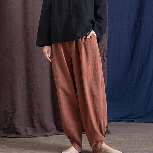4 Solid Colors Spring Summer Cotton Linen Elastic Waist Vintage Pants