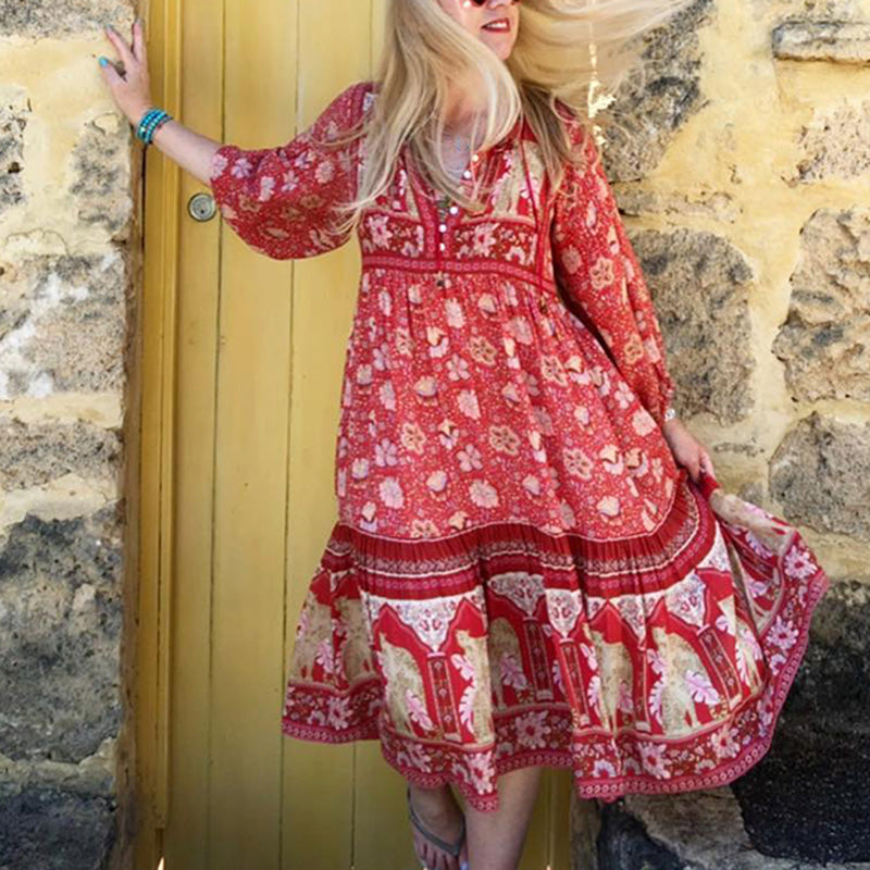 Floral Print Retro Long Sleeve V neck Button-up Bell Tassel Midi Dress