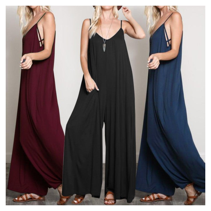 Spaghetti Strap Sleeveless Wide Leg Jumpsuits