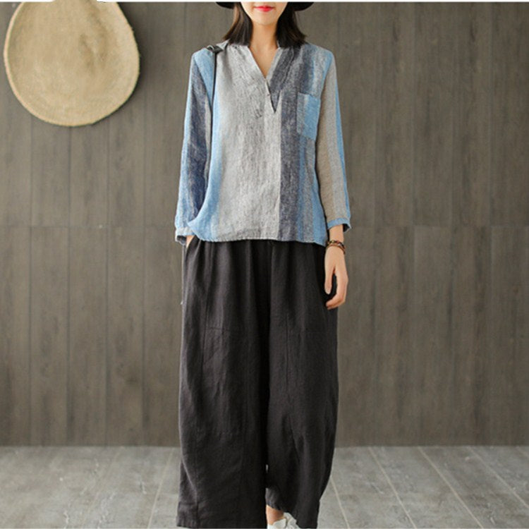 Women Casual Cotton Linen Ankle Length Loose Pants Spring Summer Elastic Waist Wide Leg Pants